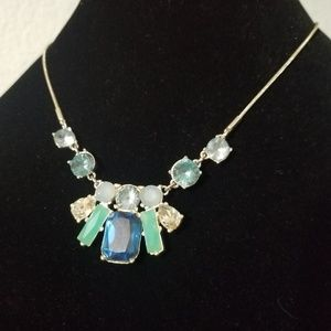 Glass/Stone Blue, Green, Silver-tone Necklace